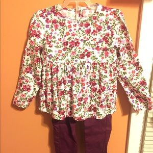Carter's Matching Sets - Floral shirt with matching pants